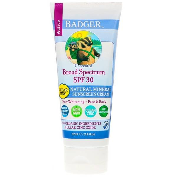 Badger Solkrem SPF30 Unscented Clear 87 ml